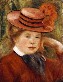 Renoir | A Young Girl with a Red Hat, 1899 | Giclée Canvas Print