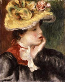 Renoir | Head of a Girl with a Yellow Hat, undated | Giclée Canvas Print