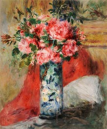 Roses and Peonies in a Vase, 1876 by Renoir | Giclée Canvas Print