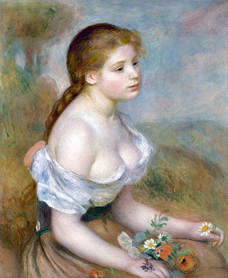 Young Girl with Daisies, 1889 | Renoir | Painting Reproduction