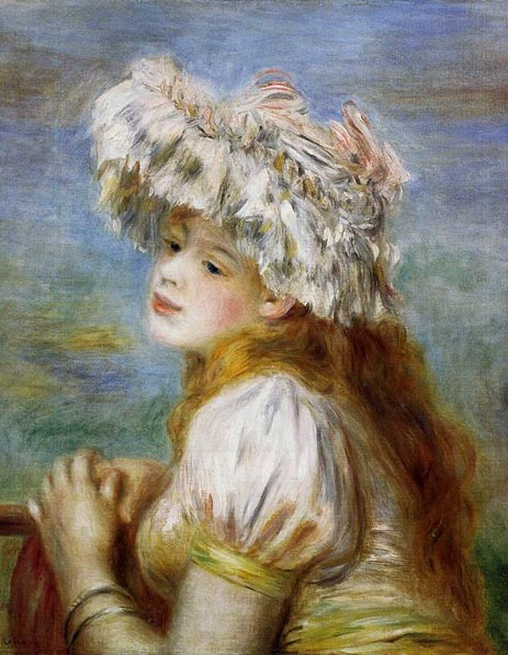 Young Girl in a Lace Hat, 1891   Renoir   Painting Reproduction