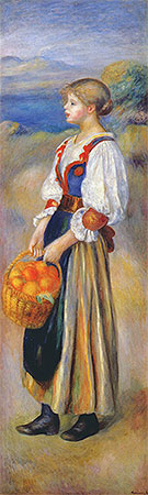 Girl with a Basket of Oranges, c.1889 | Renoir | Painting Reproduction