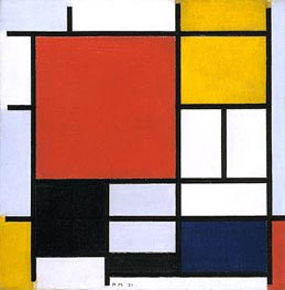 Mondrian | Composition with Large Red Plane, Yellow, Black, Gray and Blue, 1921 | Giclée Canvas Print