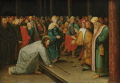 Christ and the Woman Taken in Adultery, c.1600 | Pieter Bruegel the Younger | Painting Reproduction