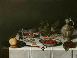 Pieter Claesz | A Breakfast Still Life with Strawberries and Cherries, 1621 | Giclée Canvas Print