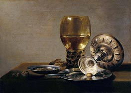 Pieter Claesz | Still Life with Wine Glass and Silver Bowl, undated | Giclée Canvas Print