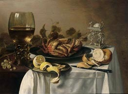 Pieter Claesz | A Still Life with a Roemer, a Crab and a Peeled Lemon on a Pewter Plate, a Bunch of Grapes, a Bun and Knife with an Elaborate Dutch Silver Salt Cellar, on a Draped Table, 1643 | Giclée Canvas Print