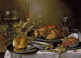Pieter Claesz | Still Life with Crab, 1657 | Giclée Canvas Print