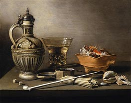 Still Life with a Stoneware Jug, Berkemeyer and Smoking Utensils, 1640 by Pieter Claesz | Giclée Canvas Print