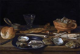Pieter Claesz | Still Life With a Brazier, Wine-Glass and a Bread Roll, 1624 | Giclée Canvas Print