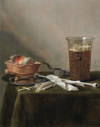 Pieter Claesz | Still Life with a Brazier, a Glass of Beer and a Clay Pipe, 1642 | Giclée Canvas Print