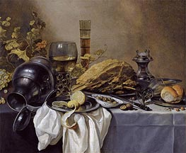 Pieter Claesz | A Still Life with an Overturned Pewter Jug, a Roemer and a Blue Lined Beer Glass | Giclée Canvas Print