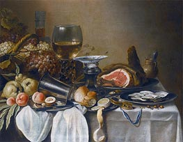 Pieter Claesz | Still Life with a Ham, Fruits, Oysters and Bread, 1651 | Giclée Canvas Print
