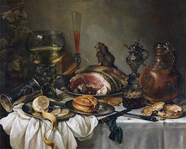 Pieter Claesz | Still Life with a Roemer, Earthenware Jug, Overturned Silver Beaker and a Ham | Giclée Canvas Print
