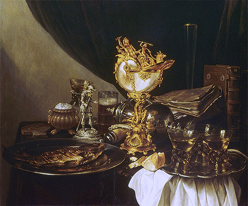 Still Life with a Nautilus Cup, 1645 | Pieter Claesz | Painting Reproduction