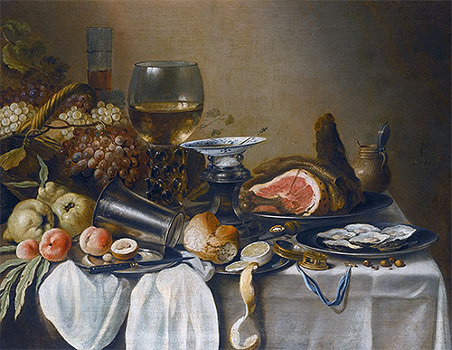 Still Life with a Ham, Fruits, Oysters and Bread, 1651 | Pieter Claesz | Painting Reproduction