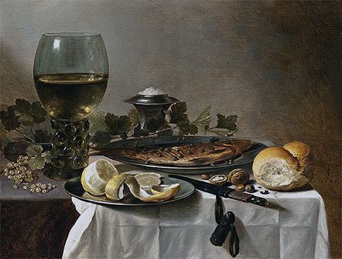 Pieter Claesz | Still Life with Herring, Wine and Bread, 1647 | Giclée Canvas Print