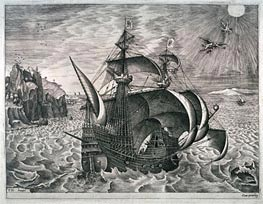 Bruegel the Elder | A Man-of-War near the Coast, with the Fall of Icarus, Undated | Giclée Paper Print