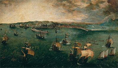 Naval Battle in the Gulf of Naples, c.1563 | Bruegel the Elder | Painting Reproduction
