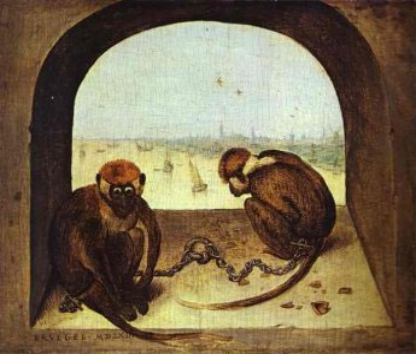 Two Monkeys, 1562 | Bruegel the Elder | Painting Reproduction