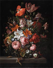 Flowers in a Glass Vase, 1704 by Rachel Ruysch   Giclée Canvas Print