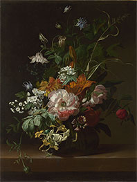 Flowers in a Vase, c.1685 by Rachel Ruysch | Giclée Canvas Print