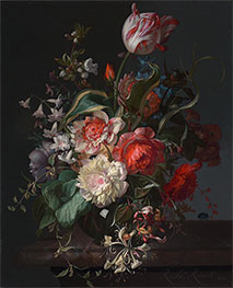 Flowers in a Glass Vase with a Tulip, 1716 by Rachel Ruysch | Giclée Canvas Print