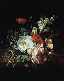 Nosegay on a Marble Plinth, c.1695 by Rachel Ruysch | Giclée Canvas Print