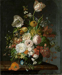 Still Life with Flowers in a Glass Vase, Undated by Rachel Ruysch | Giclée Canvas Print