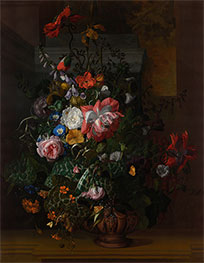 Roses, Convolvulus, Poppies and Other Flowers in an Urn, 1680s by Rachel Ruysch | Giclée Canvas Print
