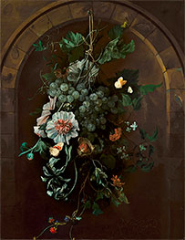 A Swag of Fruit and Flowers Suspended before a Stone Arch, 1681 by Rachel Ruysch | Giclée Canvas Print