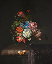 Flowers in a Glass Vase with Butterfly, 1686 by Rachel Ruysch | Giclée Canvas Print