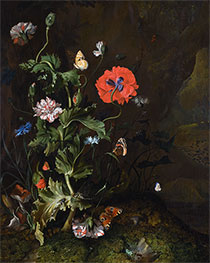 Still Life of Thistle between Carnations and Cornflowers, 1683 by Rachel Ruysch | Giclée Canvas Print