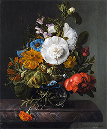 Still Life of Flowers in a Glass Vase on a Marble Ledge, 1745 by Rachel Ruysch | Giclée Canvas Print