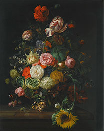 Still Life of Roses, Tulips and Sunflower, 1710 by Rachel Ruysch | Giclée Canvas Print