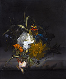 Still Life with Marigolds and Morning Glory, Undated by Rachel Ruysch | Giclée Canvas Print