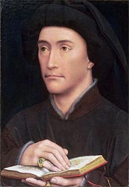 van der Weyden | Portrait of a Man holding an Open Book (possibly Bishop Guillaume Fillastre), c.1437 | Giclée Canvas Print