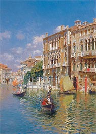 Rubens Santoro | Gondoliers in front of the Palazzo Cavalli-Franchetti, Venice | Giclée Canvas Print