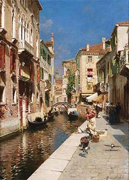 Rubens Santoro | Women Walking beside a Venetian Canal, undated | Giclée Canvas Print