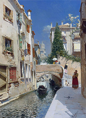 Venetian Canal with the Campanile of the Frari, Undated | Rubens Santoro | Painting Reproduction