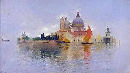 Punta della Dogana with the Basilica della Salute, undated | Rubens Santoro | Painting Reproduction