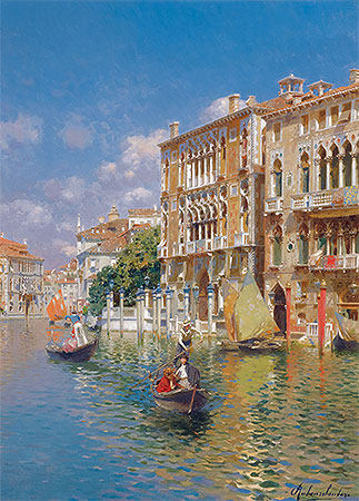 Gondoliers in front of the Palazzo Cavalli-Franchetti, Venice, undated | Rubens Santoro | Painting Reproduction
