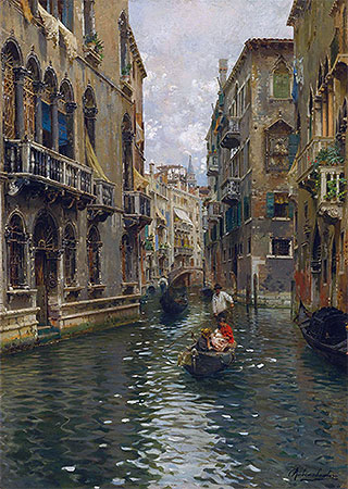 A Family Outing on a Venetian Canal, undated | Rubens Santoro | Painting Reproduction