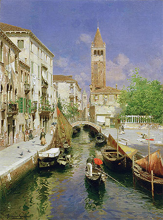 A Venetian Canal, undated | Rubens Santoro | Painting Reproduction
