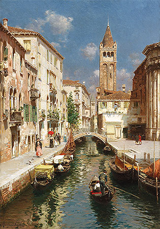 Gondolas on a Venetian Backwater, undated | Rubens Santoro | Painting Reproduction