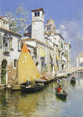 Gondolas on a Venetian Canal, undated | Rubens Santoro | Painting Reproduction