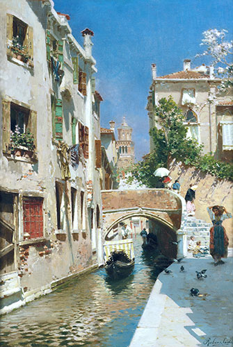 A Woman Carrying Water beside a Venetian Canal, undated | Rubens Santoro | Painting Reproduction