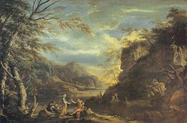 Salvator Rosa   River Landscape with Apollo and the Cumaean Sibyl, c.1655   Giclée Canvas Print