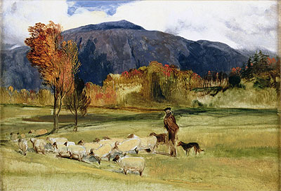 A Shepherd and his Flock, undated   Landseer   Painting Reproduction