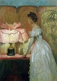 Frank Dicksee   Lamplight Study of Interior with Lady, 1891   Giclée Canvas Print